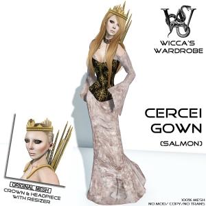 Wicca's Wardrobe - Cercei Gown Salmon Vendor