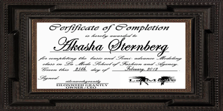 akasha sternberg certificate of completion